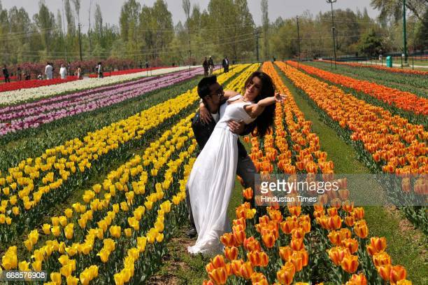 Bollywood actor Ajaz Khan and Smita Gondkar during shooting for their upcoming movie Hai Tujay Salam India at tulip garden on April 14 2017 in...