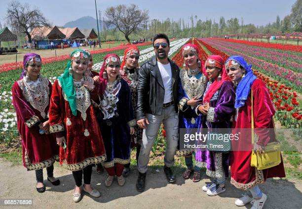 Bollywood actor Ajaz Khan during shooting for their upcoming movie Hai Tujay Salam India at tulip garden on April 14 2017 in Srinagar India