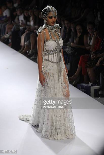 Bollywood actor Akshara Haasan walks on for designer Anaiikka at Lakme Fashion Week Summer/Resort 2015 on March 21 2015 in Mumbai India