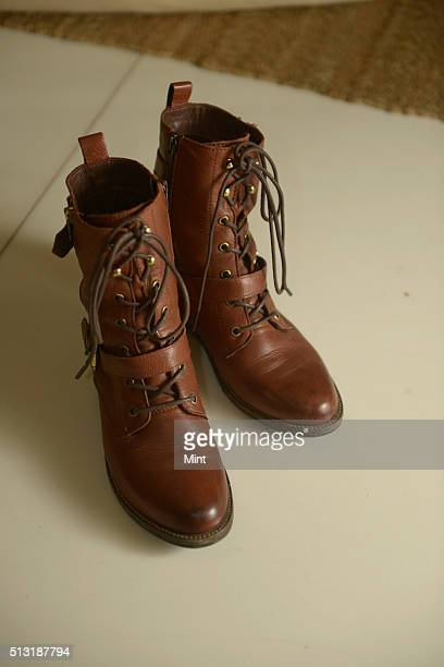 Bollywood actor Akshara Haasan's boots during her profile shoot on January 17 2015 in Mumbai India