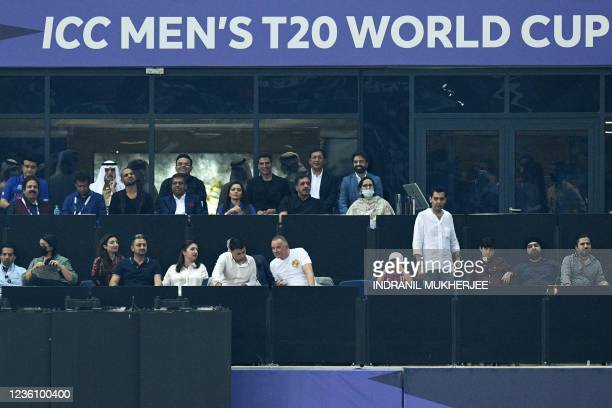 Bollywood actor Akshay Kumar along with dignitaries and officials watch the ICC mens Twenty20 World Cup cricket match between India and Pakistan at...