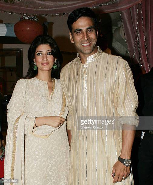 Bollywood actor Akshay Kumar and his wife actress Twinkle Khanna arrive to attend the wedding reception for Rashi Agarwal and Hemant Bhanadari at ITC...