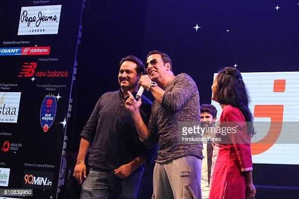 Bollywood actor Akshay Kumar during the grand opening ceremony of HT GIFA2016 at Thyagaraj Stadium on September 24 2016 in New Delhi Akshay made a...