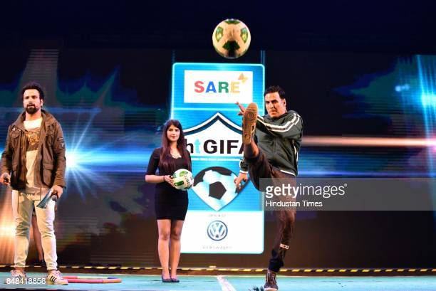 Bollywood actor Akshay Kumar during the grand opening ceremony of Hindustan Times Great Indian Football Action at Thyagaraj Sports Complex on...