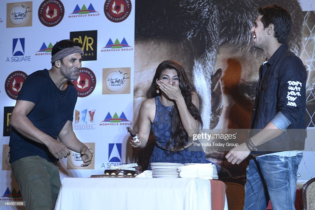 Bollywood Actor Akshay Kumar Jacqueline Fernandez and Sidharth Malhotra during the promotion of their upcoming movie Brothers at New Delhi
