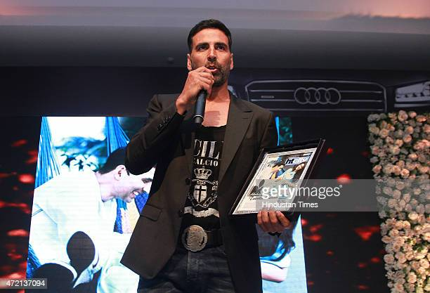 Bollywood actor Akshay Kumar speaking after receiving India's most stylish couple award during the Hindustan Times Delhis Most Stylish 2015 award...