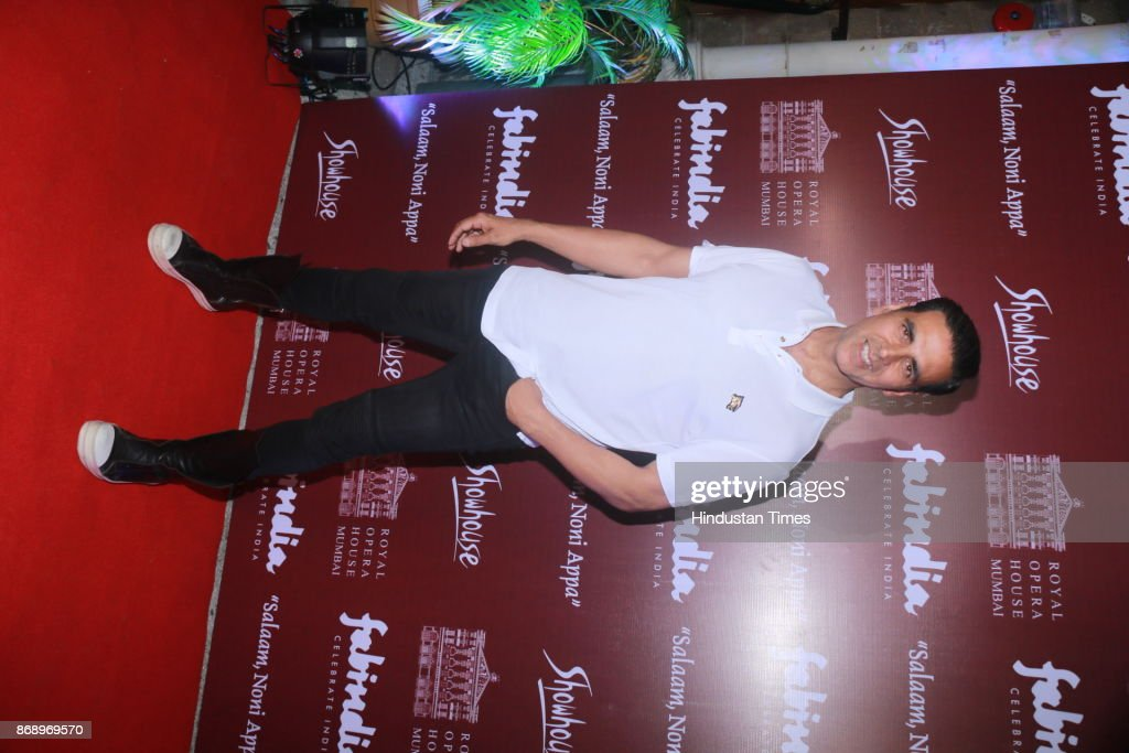 Bollywood actor Akshay Kumar spotted during preview of play Salaam Noni Appa at the Royal Opera House Girgaon on October 28 2017 in Mumbai India...