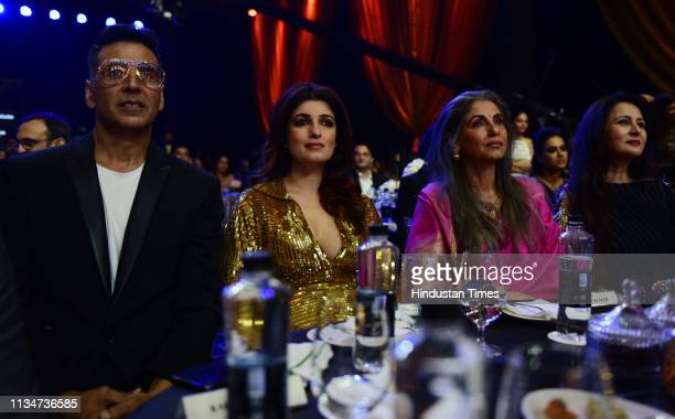 Bollywood actor Akshay Kumar with wife Twinkle Khanna and motherinlaw Dimple Kapadia during the Hindustan Times India's Most Stylish Awards 2019 at...