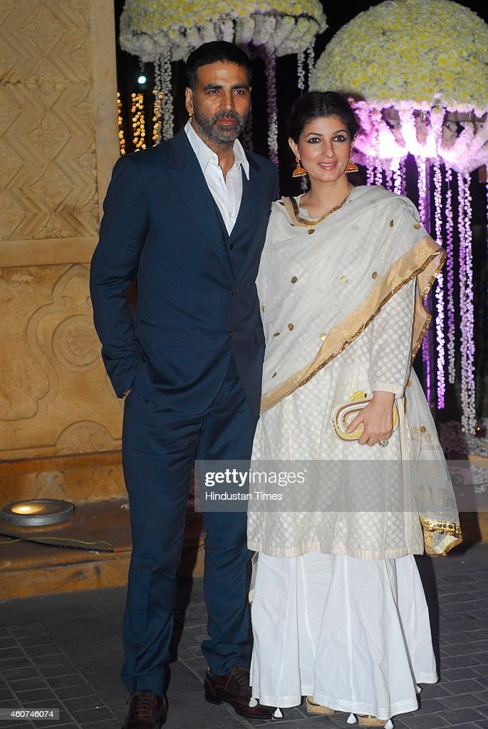 Bollywood actor Akshay Kumar with wife Twinkle Khanna during wedding ceremony of Riddhi Malhotra and Tejas Talwalkar on December 15 2014 in Mumbai...