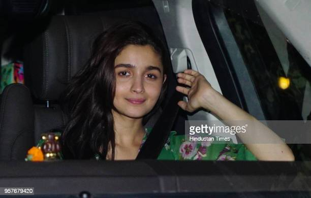 Bollywood actor Alia Bhatt arrives during the special screening of a movie 'Raazi' at Yashraj Studio Andheri on May 9 2018 in Mumbai India Raazi is a...