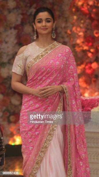 Bollywood actor Alia Bhatt during the engagement party of Akash Ambani and Shloka Mehta at Estella Juhu at Ambanis residence Antilla Altamount road...