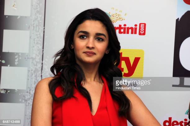 Bollywood actor Alia Bhatt interacts during promotion of her upcoming movie Badrinath Ki Dulhania on March 3 2017 in New Delhi India