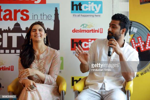 Bollywood actor Alia Bhatt with Vicky Kaushal during an exclusive interview with HT CityHindustan Times for the promotion of her upcoming movie...
