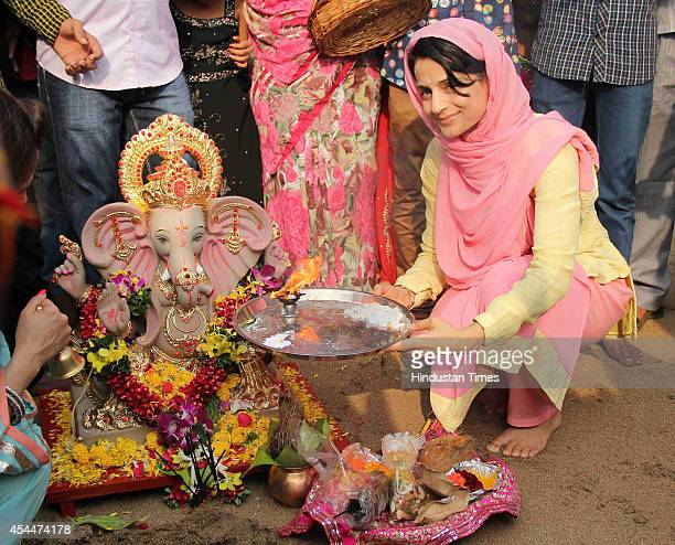 Bollywood actor Ameesha Patel at her Ganesh Idol immersion procession on August 30 2014 in Mumbai India