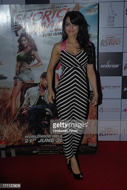 Bollywood actor Ameesha Patel during a premiere of film Shortcut Romeo at PVR Juhu on June 20 2013 in Mumbai India