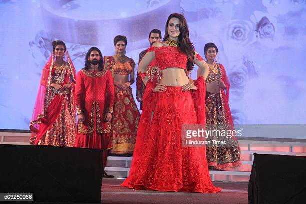 Bollywood actor Ameesha Patel during the Swarovski Gemstones National Jewellery Awards 201516 on February 6 2016 in Mumbai India