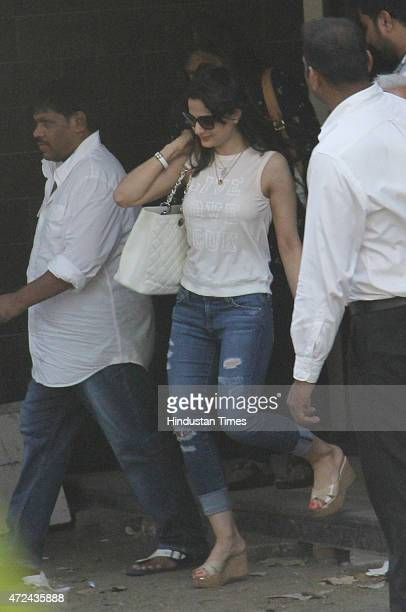 Bollywood actor Amisha Patel comes out after meeting with Salman Khan at his residence a day after verdict in hit and run case on May 7 2015 in...