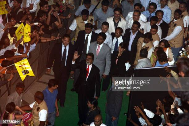 Bollywood actor Amitabh Bachchan along with Aishwarya and Abhishek Bachchan during the premiere of Sarkar Raj at Ambience Mall on June 3 2008 in...
