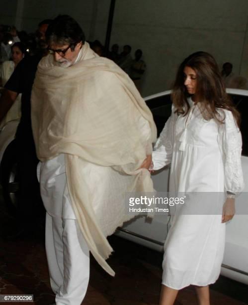 Bollywood actor Amitabh Bachchan and daughter Shweta Bachchan during the prayer meeting organised for the late Bollywood veteran Vinod Khanna at...