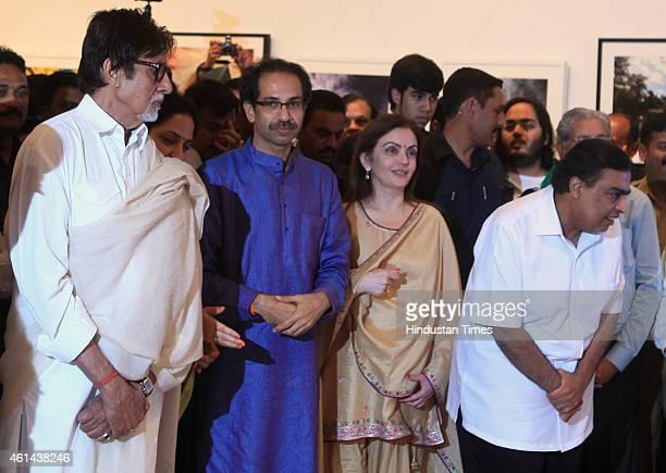 Bollywood actor Amitabh Bachchan businessman Mukesh Ambani and his wife Nita Amban and Shiv Sena President Uddhav Thackeray at Uddhav Thackeray's...