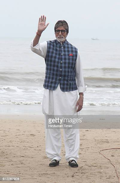 Bollywood actor Amitabh Bachchan during the 'NDTV Dettol Banega Swachh India' cleanliness drive at Juhu Beach on October 2 2016 in Mumbai India