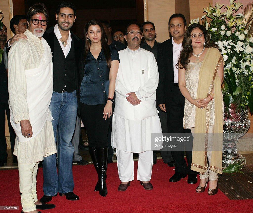 Bollywood actor Amitabh Bachchan his actor son Abhishek Bachchan and his wife Aishwarya Rai along with Indian politician Amar Singh attend a party...