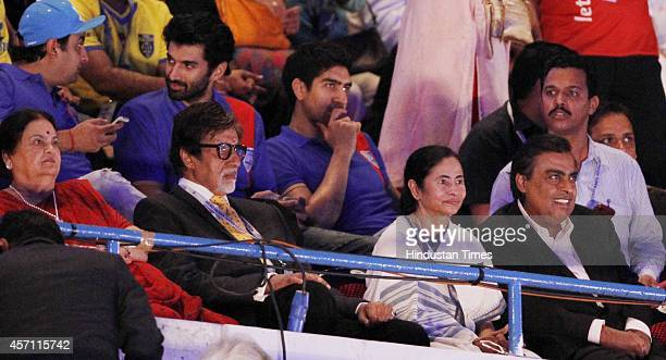 Bollywood actor Amitabh Bachchan Mukesh Ambani Managing Director Reliance Industries Limited and Chief Minister Mamata Banerjee during the inaugural...