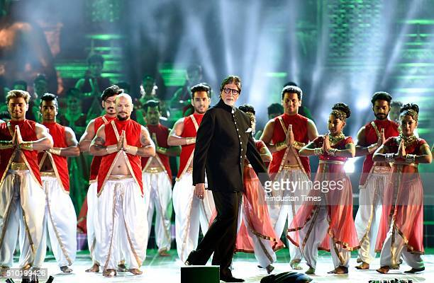 Bollywood actor Amitabh Bachchan performs during a 'Make in India week' cultural programme at Maharashtra Night at Girgaum Chowpatty on February 14...