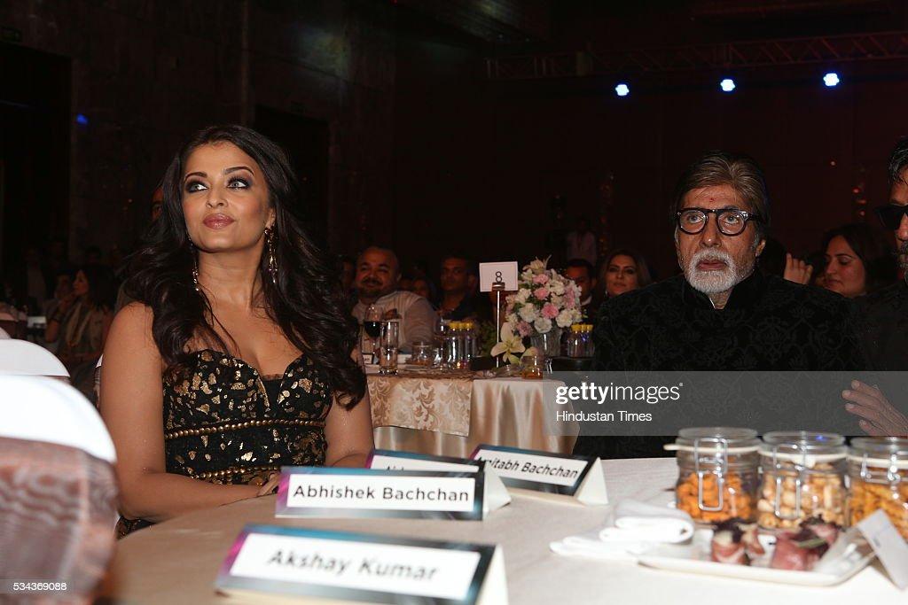 Bollywood actor Amitabh Bachchan with daughterinlaw Aishwarya Rai Bachchan at Hindustan Times Most Stylish Awards 2016 at Hotel JW Marriott Aerocity..