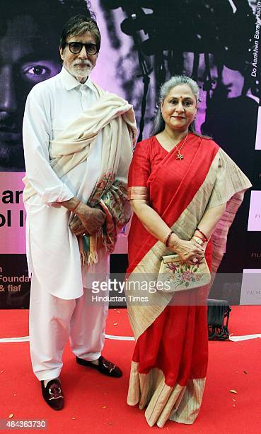Bollywood actor Amitabh Bachchan with his wife Jaya Bachchan during the launch of Film Heritage Foundation Film Preservation and Restoration School...