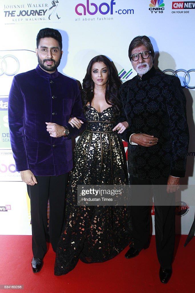 Bollywood actor Amitabh Bachchan with son Abhishek and daughterinlaw Aishwarya Rai Bachchan at Hindustan Times Most Stylish Awards 2016 at Hotel JW...