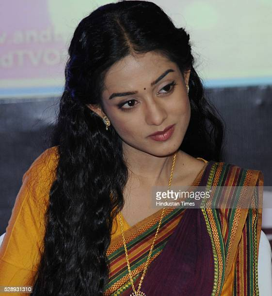 Bollywood actor Amrita Rao addressing a press conference during an event on May 7 2016 in Bhopal India