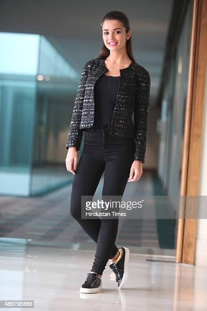 Bollywood actor Amy Jackson poses for a profile shoot on September 20 2015 in New Delhi India