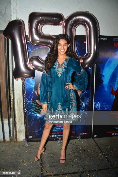 Bollywood actor Amyra Dastur during the success party of film Stree at Arth in Khar on September 18 2018 in Mumbai India