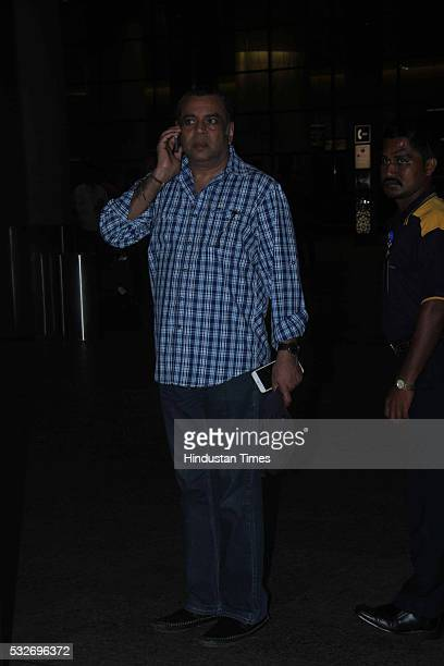 Bollywood actor and BJP leader Paresh Rawal at airport on May 18 2016 in Mumbai India