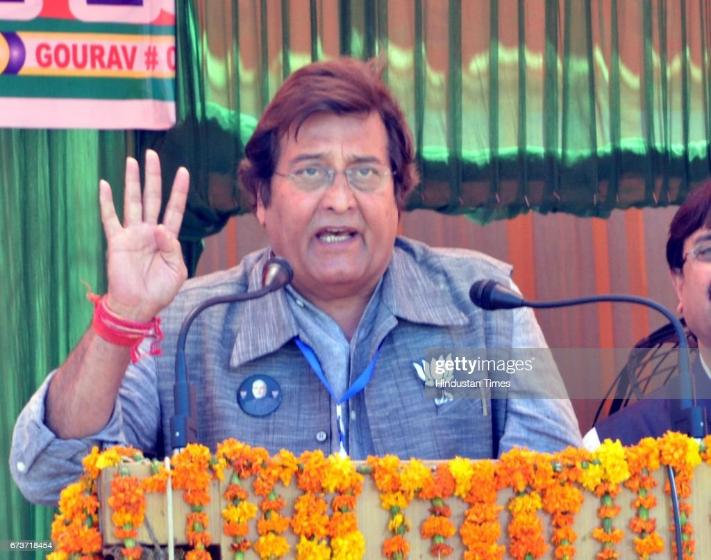 Bollywood actor and BJP Lok Sabha Candidate from Gurdaspur Vinod Khanna during an election campaign rally at Pathankot on April 25 2014 in Amritsar...