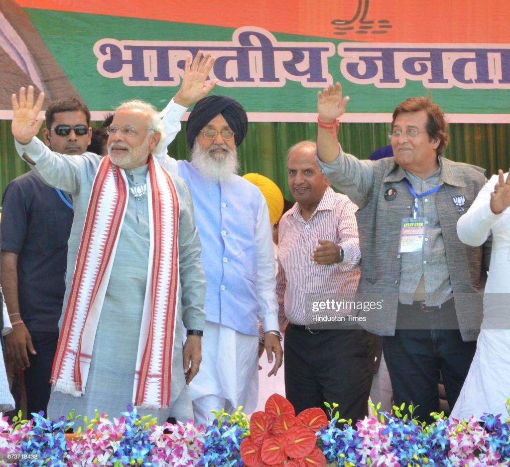 Bollywood actor and BJP Lok Sabha Candidate from Gurdaspur Vinod Khanna Punjab CM Parkash Singh Badal and BJP Prime Ministerial Candidate Narendra...