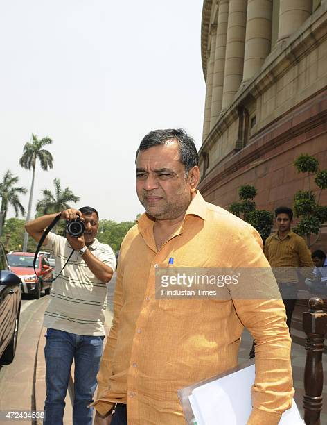 Bollywood actor and BJP MP Paresh Rawal at Parliament House during the extended Budget Session on May 7 2015 in New Delhi India The Lok Sabha which...