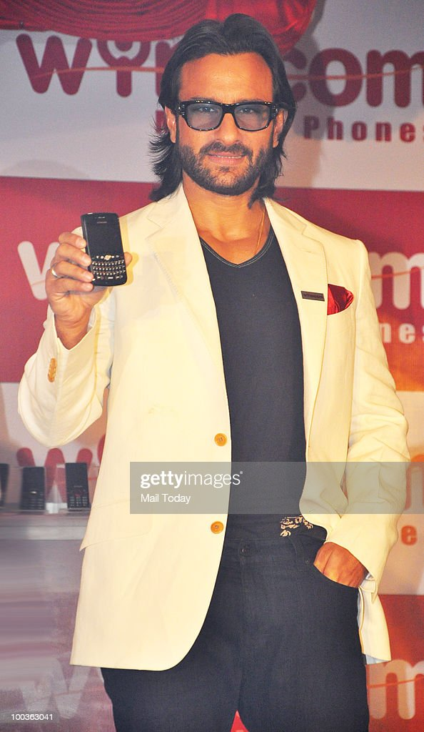 Bollywood actor and brand ambassador of Wynncom Mobile Phones Saif Ali Khan during the launch of the company's phones in Mumbai on May 21, 2010.