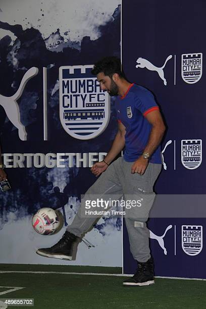 Bollywood actor and coowner of Mumbai City FC Ranbir Kapoor during the launch of new Puma home kit for Mumbai City FC for Indian Super League 2015...