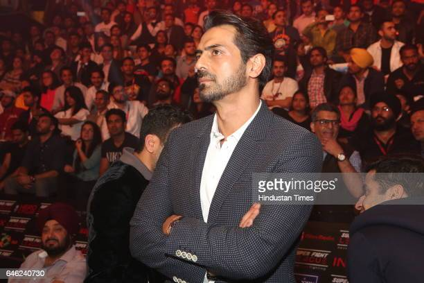 Bollywood actor and Delhi Heroes' owner Arjun Rampal during the Super Fight League at Siri Fort Sports Complex on February 25 2017 in New Delhi India