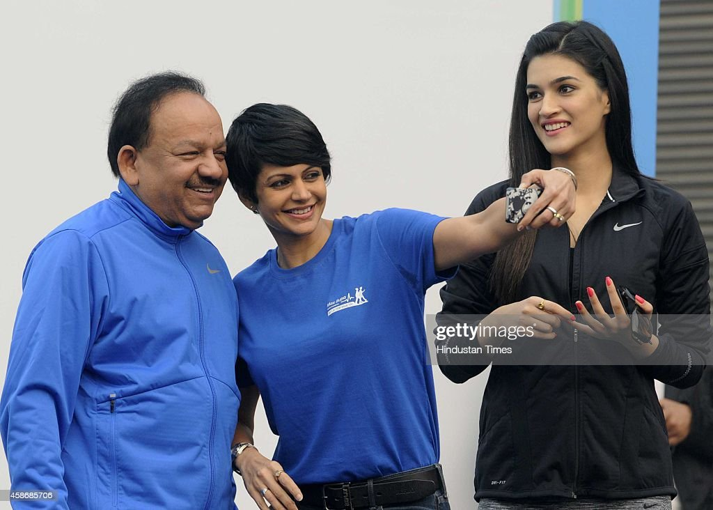Bollywood actor and fashion designer Mandira Bedi with Union Minister of Health Welfare Dr Harsh Vardhan and Bollywood actor Kriti Sanon during the...