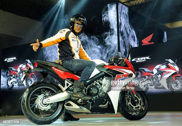 Bollywood actor and Honda Brand Ambassador Akshay Kumar poses with the Honda CBR 650F during the launch of a new line of Honda motorcycles on August...