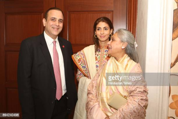 Bollywood actor and MP Jaya Bachchan with her daughter Shweta Bachchan and Nikhil Nanda during the launch of author Ritu Nanda's book a memoir on her...