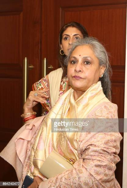 Bollywood actor and MP Jaya Bachchan with her daughter Shweta Bachchan Nanda during the launch of author Ritu Nanda's book a memoir on her father...