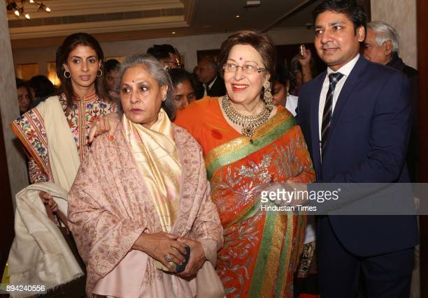 Bollywood actor and MP Jaya Bachchan with her daughter Shweta Bachchan Nanda and author Ritu Nanda during the launch of author Ritu Nanda's book a...