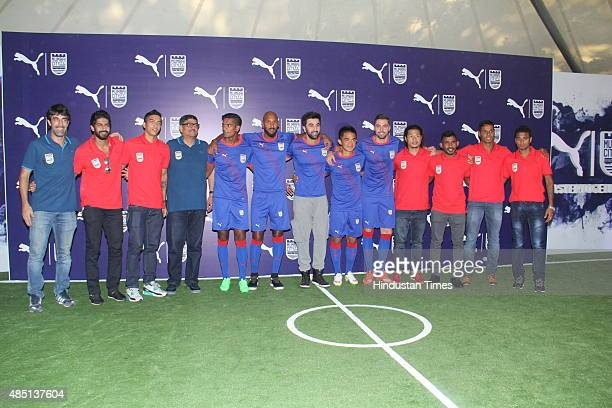 Bollywood actor and Mumbai City FC coowner Ranbir Kapoor along with players Sunil Chhetri Andre Moritz Nicolas Anelka Subrata Paul and other team...