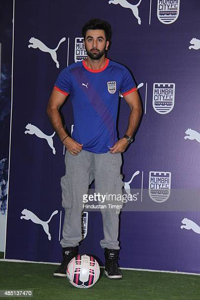 Bollywood actor and Mumbai City FC coowner Ranbir Kapoor during the launch of the new kit for the team on August 22 2015 in Mumbai India