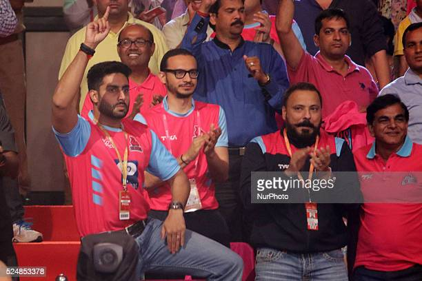 Bollywood actor and Owner Jaipur Pink Panthers kabaddi team Abhishek Bachchan reacts after won over Bengaluru Bulls during the Pro Kabaddi League...