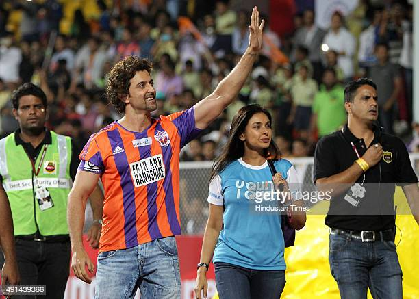 Bollywood actor and owner of FC Pune City Hrithik Roshan during the Indian Super League match between FC Pune City and Mumbai City FC at Shree Shiv...